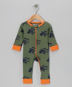Perfect for Tom's little boy!! Take a look at this Moab & Orange Jeep Organic Playsuit - Infant by Welcome Baby Boy Collection on @zulily today!