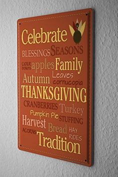 "Tin Sign Seasons Decoration Autumn Thanksgiving Celebration Wall Poster 8X12"" Metal Plate"