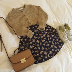 Korean fashion - brown cardigan, navy floral skirt, sneakers and brown bag