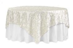 "Flower on Sequin Taffeta Table Overlay 90""x90"" - Ivory"