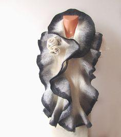 Felted scarf ruffle collar   Grey white black by galafilc on Etsy, $69.00