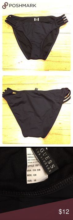 Guess hi-leg bikini bottom Black Guess hi-leg bikini bottom with caged sides, size S. Worn a couple times at most Guess Swim Bikinis