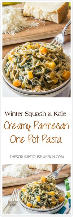Creamy Parmesan One Pot Pasta with Squash and Kale   How to make a rich, creamy parmesan pasta that's really healthy too (plus, only one pot to wash later)!   The Scrumptious Pumpkin