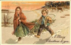Young girl and boy walking in the snow Series 6223, 6227 A Merry Christmas To You