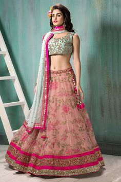Designer Pink And Sea Green Lehenga
