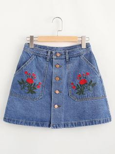 Shop Floral Embroidered Single Breasted A Line Denim Skirt online. SheIn offers Floral Embroidered Single Breasted A Line Denim Skirt & more to fit your fashionable needs. A Line Denim Skirt, Blue Denim Skirt, A Line Skirts, Cute Skirts, Mini Skirts, Short Skirts, Jean Skirts, Denim Skirts Online, Fashion Clothes