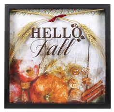 Hello Fall Shadowbox Project from Crafts Direct Flower Shadow Box, Diy Shadow Box, Fall Mason Jars, Mason Jar Vases, Fall Door Decorations, Thanksgiving Decorations, Hello Autumn, Autumn Fall, Box Frame Art