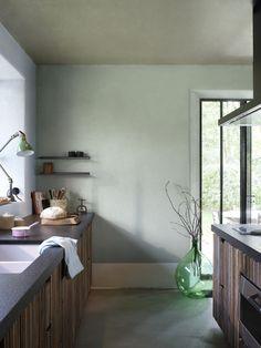 Keuken - Inspiratie - Flexa, kleuren industrial grey, camouflage green, early dew, frosted sky
