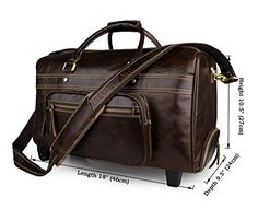 Men's Leather Rolling Travel Tote Wheeled Duffle Luggage carry on Boarding Bag