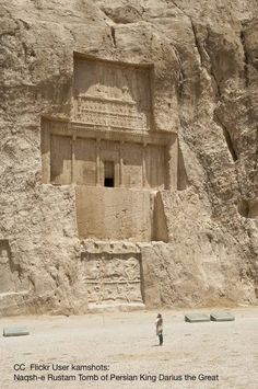 Tomb of Darius I (522-486 BCE), Naqsh-i-Rustam. Located 12km northwest of Persepolis, at considerable height, and explicitly identified by inscription. Looted after the conquest of Alexander. Relief of victory of Shahpur I (241-272 CE), below left, and later double relief, below.
