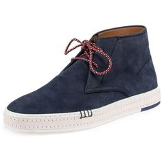 Berluti Cortina Suede Chukka Sneaker (4.325 BRL) ❤ liked on Polyvore featuring men's fashion, men's shoes, men's sneakers, francis hammerstein, navy, mens chukka sneakers, mens navy shoes, mens lace up shoes, mens flat shoes and mens suede lace up shoes
