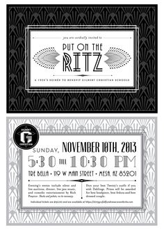 Gilbert Christian Schools' Put on the Ritz, a 1920's soiree, Fundraiser invitations.  Printed on metallic paper.  Created by The Savvy Socialista