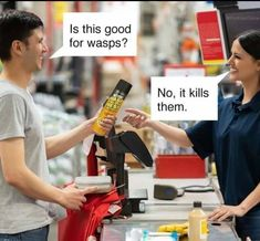 Is this good for wasps? No, it kills them. – popular keke memes on the site kekememes. Crazy Funny Memes, Funny Puns, Really Funny Memes, Stupid Funny Memes, Funny Laugh, Funny Relatable Memes, Funny Humor, Funny Stuff, Lmfao Funny