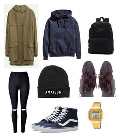 """""""long coat outfit"""" by nighi on Polyvore featuring WithChic, Vans and Casio"""