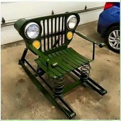 Recycled Jeep parts made into a rocking chair. From Facebook.