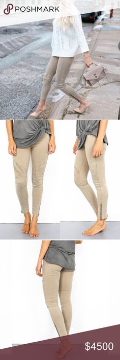 🔜 Khaki Moto Jeggings Coming soon! Like to be notified. Will be $45 upon arrival. Pants Skinny