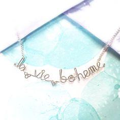la vie boheme necklace - bohemian life jewelry - french phrase bracelet - boho hippie bohemian artist gift - rent broadway fan jewelry on Etsy, $23.00