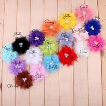 """36 unids accesorios para el cabello para las niñas color al azar 2.6 """" Diy hechos a mano de malla flores de tela haaraccessoires(China (Mainland))"""