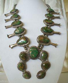 Huge Vintage Navajo Sterling King's Manassa Turquoise Squash Blossom Necklace | eBay