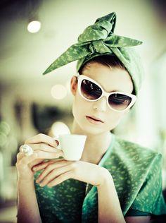 green headscarf