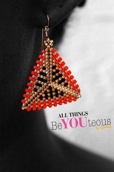 Boucles perles fait main géométriques orange or & par BeYOUteous