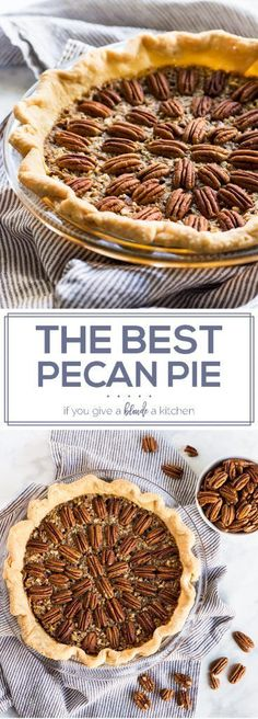 This is the best pecan pie recipe for Thanksgiving and Christmas. Every bite is gooey and crunchy with a buttery, flaky crust.   www.ifyougiveablondeakitchen.com