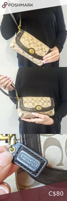 Coach Wristlet Wallet This cute Coach signature purse has a brown leather trim and solid brass hardware. Wear it as a wristlet or baby purse. Rommy and clean inside, hardly used. No wear or damage. Very nice. Coach Wristlet, Wristlet Wallet, Plus Fashion, Fashion Tips, Fashion Trends, Brass Hardware, Wristlets, Solid Brass, Coach Bags
