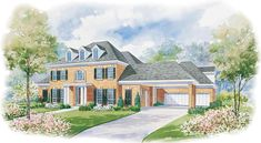 House plan number 41924DB - a beautiful 4 bedroom, 4 bathroom home.