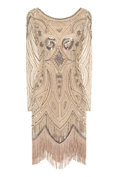Frock and Frill Karyn Embellished Stone Flapper Dress With Tassels