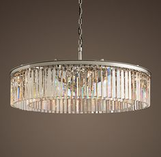 Rhys Clear Glass Prism Round Chandelier - Polished Nickel Terri has this and it's very deco. Elegant Chandeliers, Large Chandeliers, Modern Chandelier, Chandelier Lighting, Round Crystal Chandelier, Restoration Hardware Lighting, Lounge Lighting, Chandelier In Living Room, Light Fittings