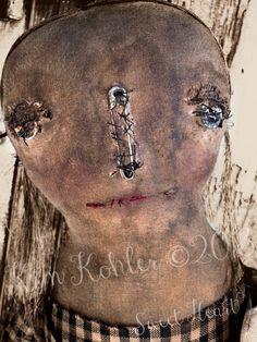 OOAK Very Primitive Folk Art Sweet Heart Ragg by VeenasMercantile,
