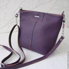 """Купить Кожаная авторская сумка """"Палитра"""" черничный цвет. - тёмно-фиолетовый, однотонный"""