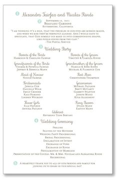 wedding program acknowledgements