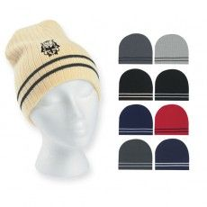 Printed Ribbed Knit Beanie with Double Stripe