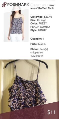 Eric and lani floral mused ruffle tank Worn once excellent quality Eric and lani Tops Tank Tops