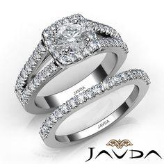 1.96ct Round Diamond Shared Prong Bridal Set GIA F VVS2 Platinum Engagement Ring