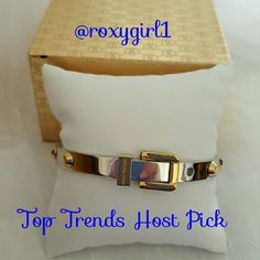 🎄SALE!!🎄WAS $62!!🎄💞HP💞 MK bracelet nwt THANK YOU Geri-ann!😙😙😙 TOP TRENDS HOST PICK 4-1-16 Chosen by @roxygirl1 Check out her  stunning closet! Gorgeous💞silver tone bracelet accented with gold tone studs Beautiful enough to wear every day Gift boxed💞 Michael Kors Jewelry Bracelets