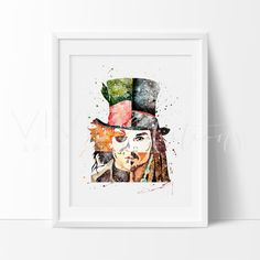 Johnny Depp Pirates Caribbean Mad Hatter Modern nursery art for Boys featuring your favorite Superheros. Affordable handmade nursery art prints that compliment any style nursery project you have in mind.