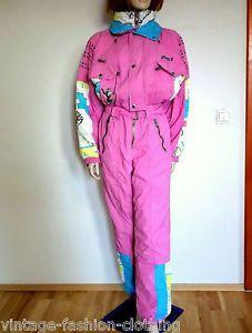 229028bfa3c BITING SKI SUIT Ladies Onesie 80s Vintage Snowboard Overall M Medium pink  RARE Retro Ski Suit