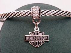 Harley Davidson Women's Cuff Bracelet Dangle Rhinestone Charm.