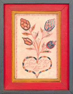 """Southeastern Pennsylvania watercolor fraktur bookplate dated 1841, with stylized floral tree emanating from a heart with script, 6 1/4"""" x 4"""". Provenance: Pennypacker Auction, October 1973 Realized price $761"""
