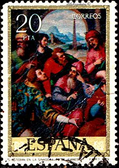 Spain.  PAINTINGS OF JUAN DE JUANES.  ST. STEPHEN IN THE SYNAGOGUE.  Scott  2167 A558, Issued 1979 Sept 28,  Photo., Perf.  13, x 13 1/2,  20. /ldb.
