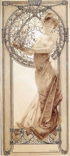 Alphonse Mucha Love the frame in this - the detail of it tied up with twine. Also like the flowers at the bottom and the stained glass window effect behind her. Think it would look great with more flowers climbing up the side borders.