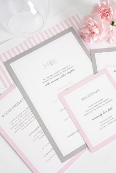Gray and Pink Wedding Invitation Unique by ShineInvitations