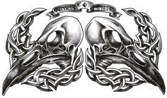 Celtic And Hugin And Munin Skull Tattoo Design by Roblfc Irish Tattoos, Celtic Tattoos, Viking Tattoos, Croatian Tattoo, Norse Tattoo, Tattoo Symbols, Raven Art, Tattoo Motive, Skull Tattoo Design