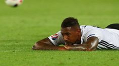 Bayern Munich's Jerome Boateng has been injured in Germany's Euro 2016 semi-final clash with France, and has been replaced by Valencia's Shkodran Mustafi