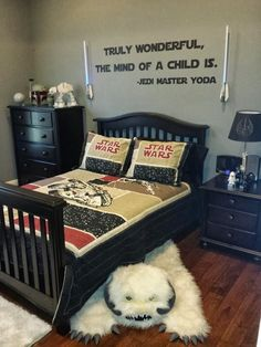 Star Wars Boys Bedroom. Jess already has that quote on his wall (and the lamp!)...now I just need another lightsaber nightlight!