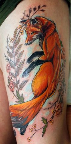 awesome fox color tattoo