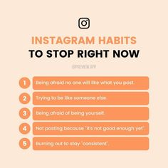 These are the habits that we found didn't help when you try to grow your account on Instagram.  Is there one that resonates with you the most? #instagramtips #instagramstrategy #socialmediatips #previewapp Instagram Tips, Instagram Accounts, Gain Followers, Liking Someone, Not Good Enough, You Tried, Right Now, Someone Elses