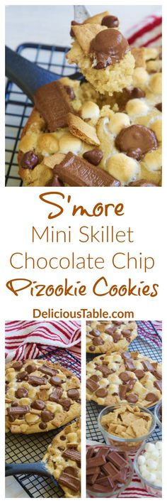 S'more Mini Skillet Chocolate Chip Pizookie Cookies have chocolate chip cookie dough and s'more toppings all melted together, ooey, gooey...and so easy!